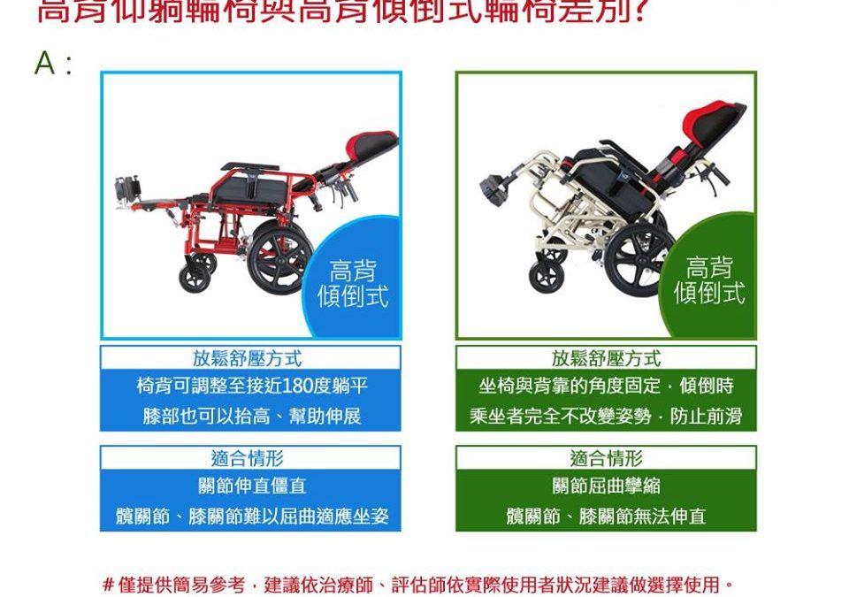 【高背仰躺與高背傾倒輪椅差別】