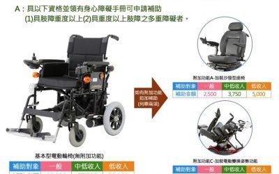 【電動輪椅補助額有多少?】